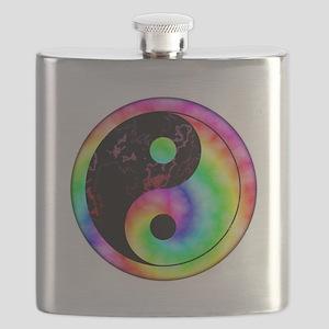 Rainbow Swirl Yin Yang Symbol Flask