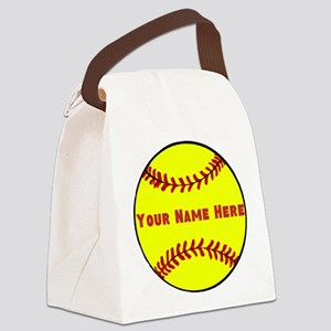 Personalized Softball Canvas Lunch Bag