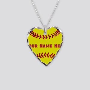 Personalized Softball Necklace Heart Charm