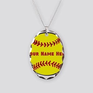 Personalized Softball Necklace Oval Charm