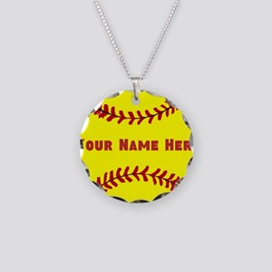 Personalized Softball Necklace Circle Charm