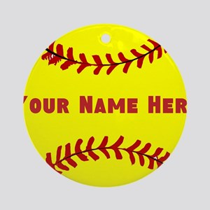 Personalized Softball Round Ornament