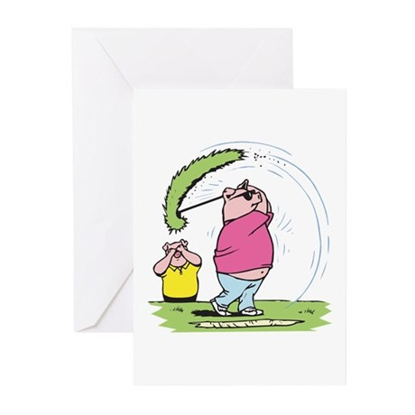 Funny Golfing Pig Greeting Cards (Pk of 10)