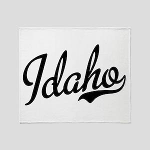 Idaho Script Black Throw Blanket