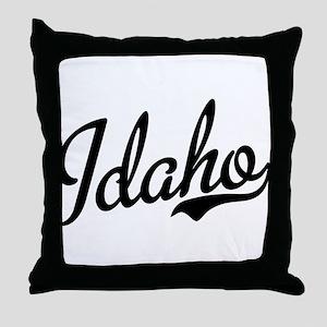 Idaho Script Black Throw Pillow
