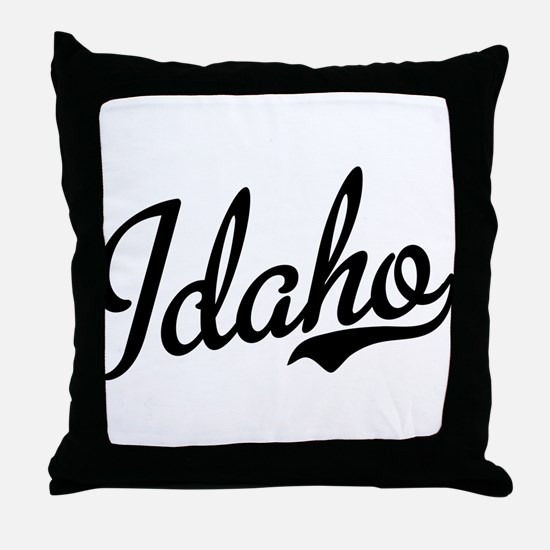 Idaho Script Black Throw Pillow