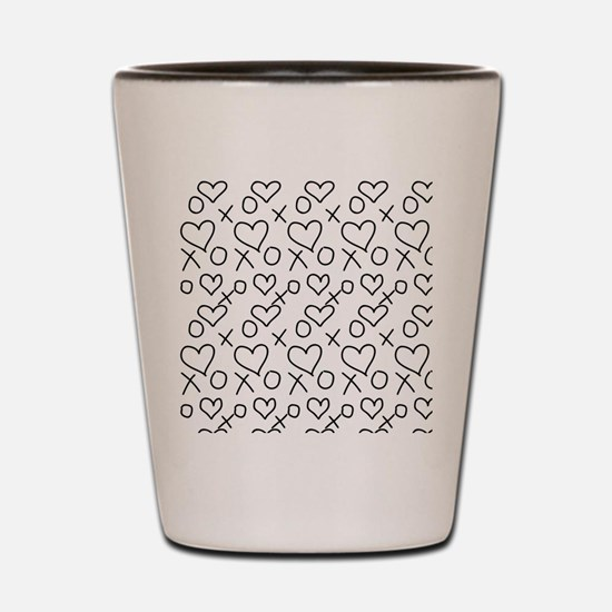 xoxo Heart Black Shot Glass
