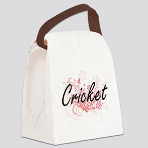 Cricket Artistic Design with Flow Canvas Lunch Bag