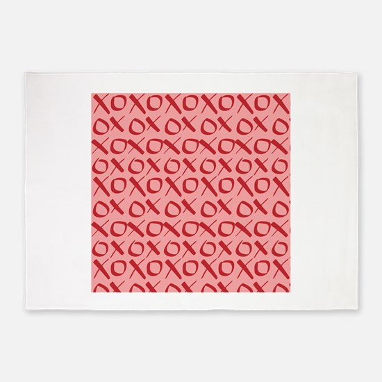 xoxo Red Pink 5'x7'Area Rug