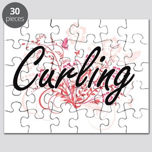 Curling Artistic Design with Flowers Puzzle