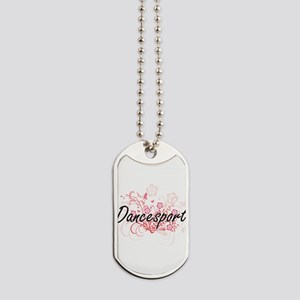 Dancesport Artistic Design with Flowers Dog Tags