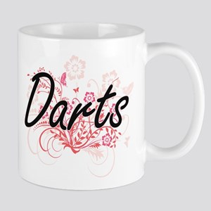 Darts Artistic Design with Flowers Mugs