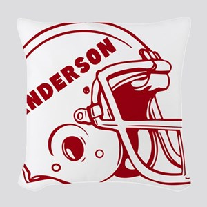 Personalized Football Helmet Woven Throw Pillow