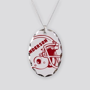 Personalized Football Helmet Necklace Oval Charm