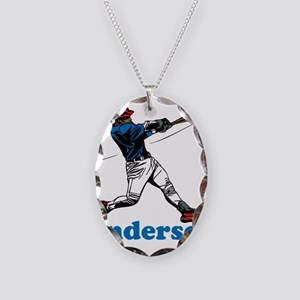 Personalized Baseball Necklace Oval Charm