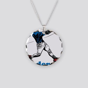 Personalized Baseball Necklace Circle Charm