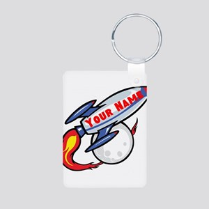 Personalized Rocket Aluminum Photo Keychain