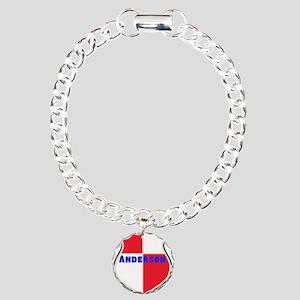 Personalized Sheild Charm Bracelet, One Charm