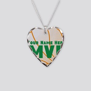 Personalized MVP Basketball Necklace Heart Charm