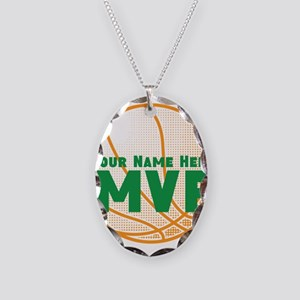 Personalized MVP Basketball Necklace Oval Charm