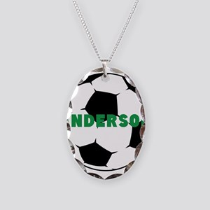 Personalized Soccer Ball Necklace Oval Charm