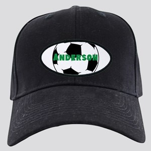 Personalized Soccer Ball Black Cap with Patch