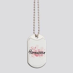 Hornussen Artistic Design with Flowers Dog Tags