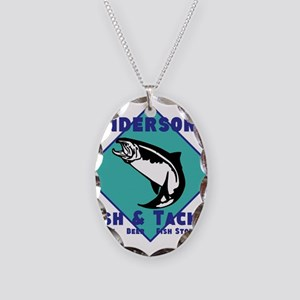 Personalized Fishing Necklace Oval Charm
