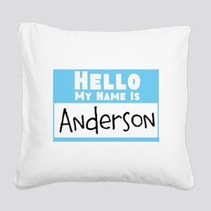 Personalized Name Tag Square Canvas Pillow