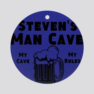 Personalized Man Cave Round Ornament