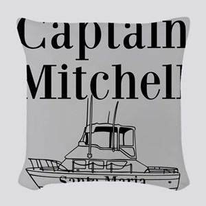 Personalized captain fishing boat Woven Throw Pill