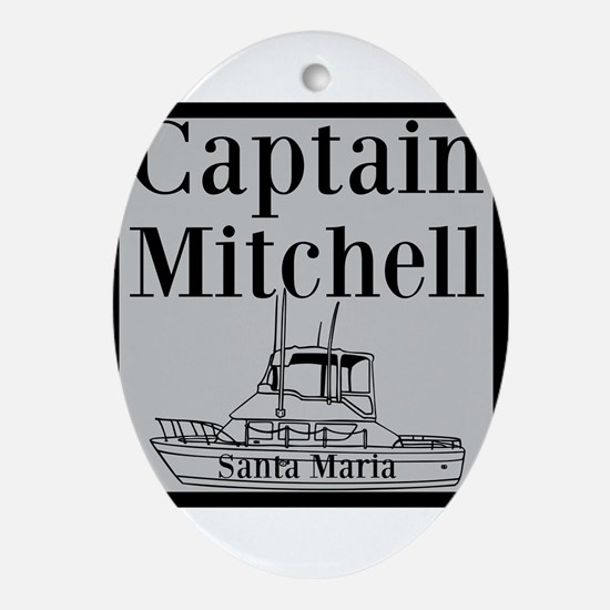 Personalized captain fishing boat Oval Ornament