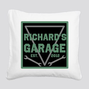 Personalized Garage Square Canvas Pillow