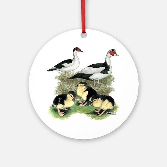 Muscovy Ducks Black Pied Round Ornament