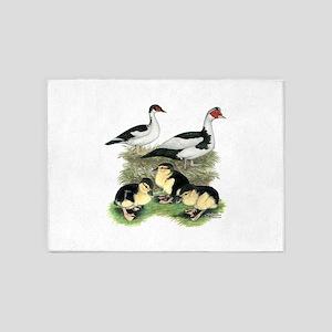 Muscovy Ducks Black Pied 5'x7'Area Rug