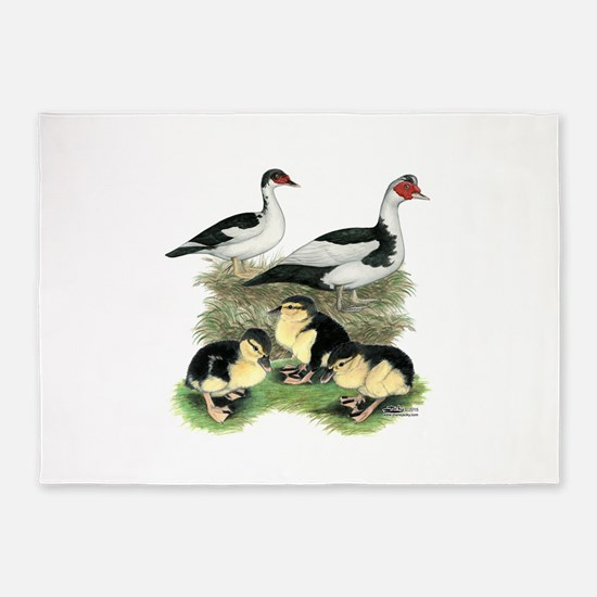 Muscovy Ducks Black Pied 5'x7'Area Rug