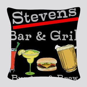 Personalized Bar and Grill Woven Throw Pillow