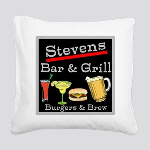 Personalized Bar and Grill Square Canvas Pillow