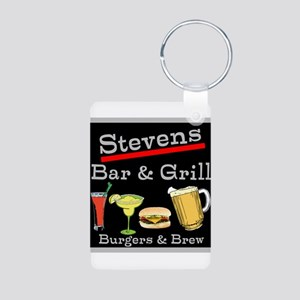 Personalized Bar and Grill Aluminum Photo Keychain