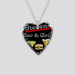 Personalized Bar and Grill Necklace Heart Charm
