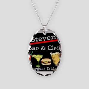 Personalized Bar and Grill Necklace Oval Charm