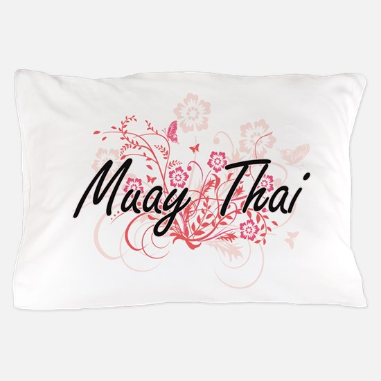 Muay Thai Artistic Design with Flowers Pillow Case