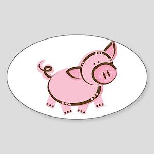 Pink/Brown Piggy Oval Sticker
