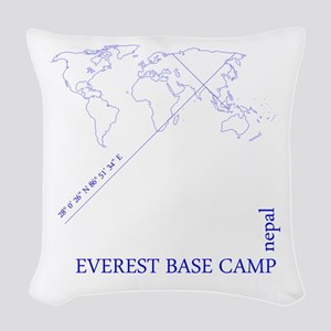 Everest Base Camp Geocode (blue) Woven Throw Pillo