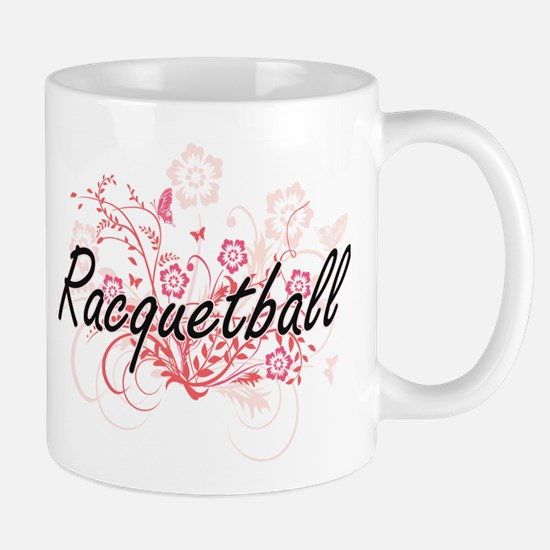 Racquetball Artistic Design with Flowers Mugs