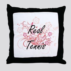 Real Tennis Artistic Design with Flow Throw Pillow