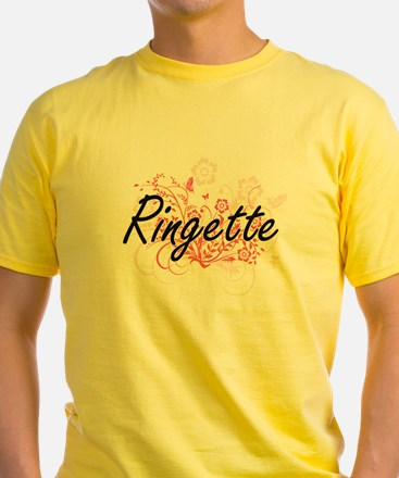 Ringette Artistic Design with Flowers T-Shirt
