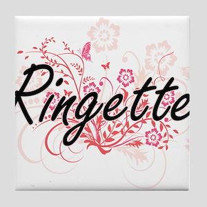 Ringette Artistic Design with Flowers Tile Coaster