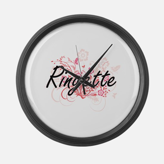 Ringette Artistic Design with Flo Large Wall Clock