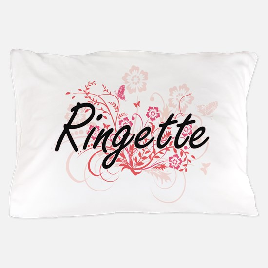 Ringette Artistic Design with Flowers Pillow Case